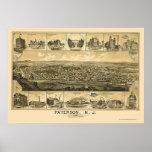 Paterson, mapa panorámico de NJ - 1880 Póster