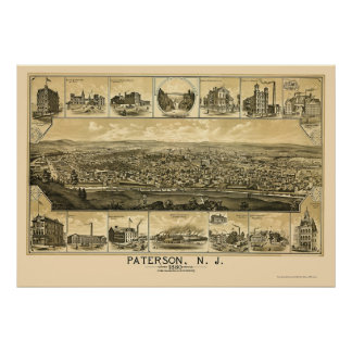 Paterson, NJ Panoramic Map - 1880 Poster