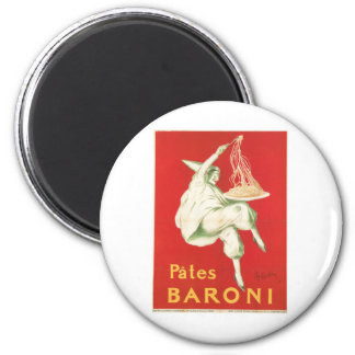 Pates Baroni Vintage Food Ad Art 2 Inch Round Magnet