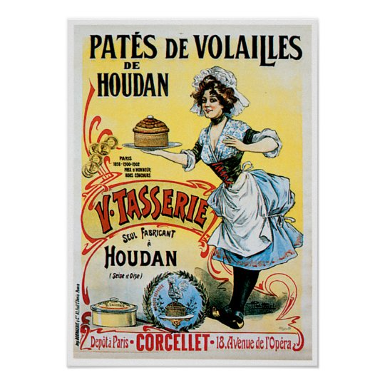 Pates De Volailles Houdan Vintage Food Ad Art Poster