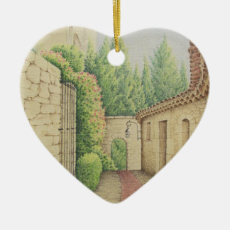 Path in Eze, France Mothers Day Heart Decoration Ceramic Ornament