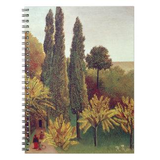 Path in the Buttes Chaumont Park, Paris, 1908 (oil Notebook