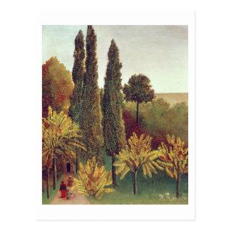 Path in the Buttes Chaumont Park, Paris, 1908 (oil Postcard
