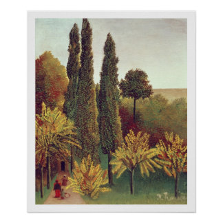 Path in the Buttes Chaumont Park, Paris, 1908 (oil Poster