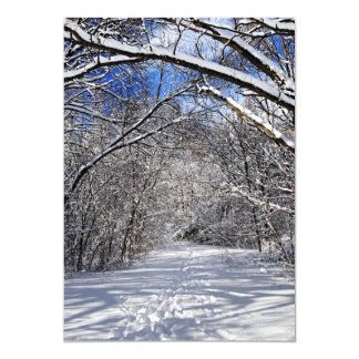 Path in winter forest card