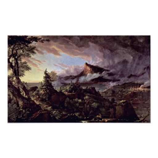 Path of empire:primitive state by Thomas Cole Print