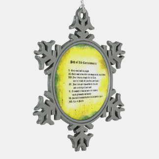 Path of Life Commandments Snowflake Pewter Christmas Ornament
