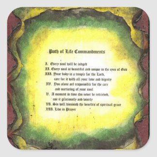 Path of Life Commandments Square Sticker