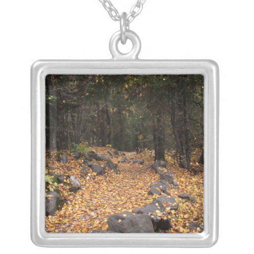Path Through the Forest; No Text Square Pendant Necklace