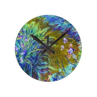 Path through the Irises Claude Monet Round Wall Clocks