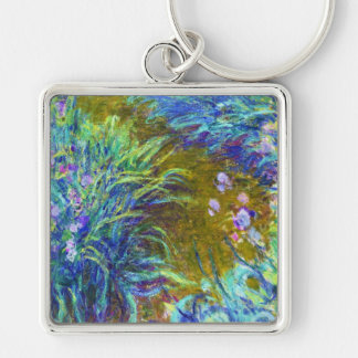 Path through the Irises Claude Monet Silver-Colored Square Keychain