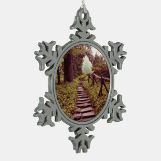 Path To Light Snowflake Pewter Christmas Ornament
