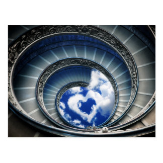 Path to love - the famous spiral stairs in vatican postcard