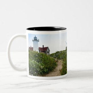 Path to Nobska Lighthouse Two-Tone Coffee Mug