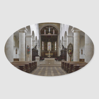 Path to peace Juses Schottenkirche St_Jakob Innenr Oval Sticker