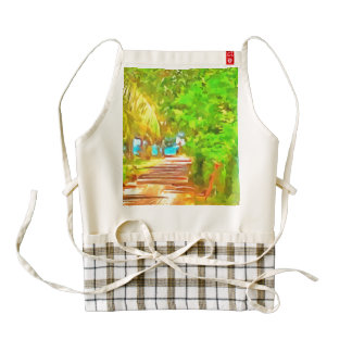 Path with greenery on both sides zazzle HEART apron