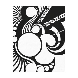 Pathogen - a geometric design in black and white canvas print