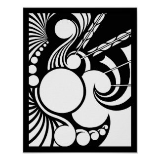 Pathogen - a geometric design in black and white poster