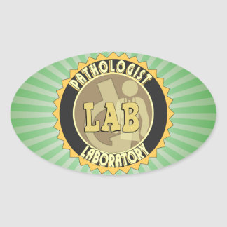 PATHOLOGIST BADGE LOGO MEDICAL LABORATORY OVAL STICKER