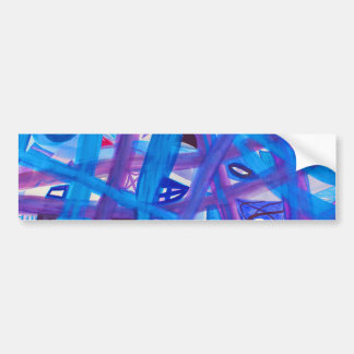 Paths in Blue Purple Abstract Bumper Stickers