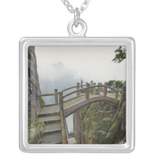 Pathway and small bridge, Yellow Mountain, 2 Square Pendant Necklace