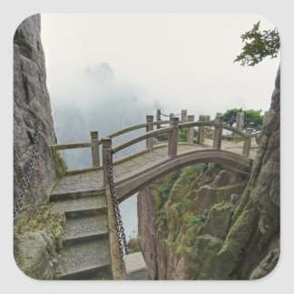 Pathway and small bridge, Yellow Mountain, 2 Square Sticker