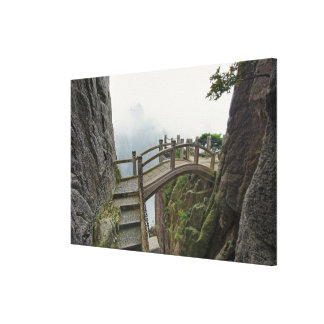 Pathway and small bridge, Yellow Mountain, Canvas Print