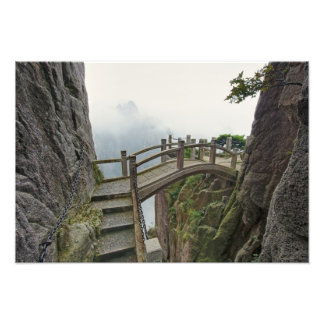 Pathway and small bridge, Yellow Mountain, Photo Print