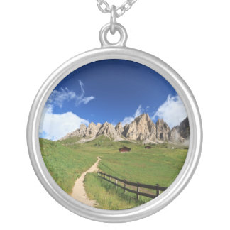 pathway in Italian Dolomites Silver Plated Necklace