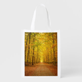Pathway in the autumn forest grocery bag