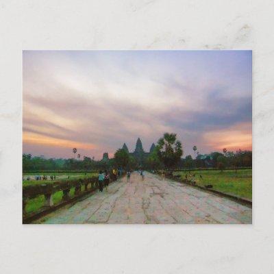 Pathway to Angkor Wat, Cambodia Postcard postcard