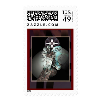 Pathway to moon and star postage stamp