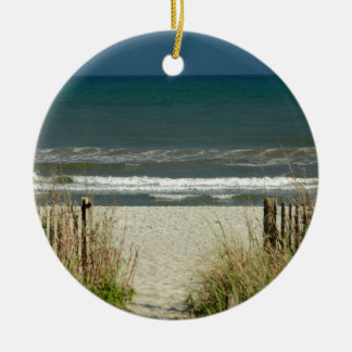 Pathway to the Ocean Waves Ceramic Ornament