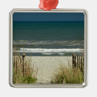 Pathway to the Ocean Waves Square Metal Christmas Ornament