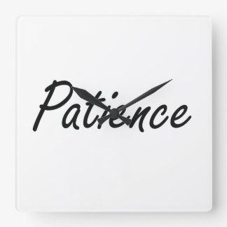 Patience artistic Name Design Square Wall Clock