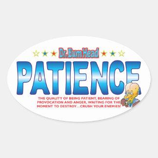 Patience Dr Bum Head Oval Sticker