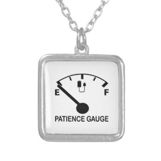 Patience Gauge Empty funny graphic slogan Square Pendant Necklace
