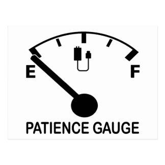 Patience Gauge Empty funny graphic slogan Postcard