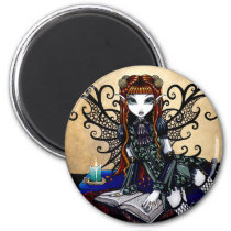 myka, jelina, art, faery, patience, reading, spell, book, candle, faerie, fairies, fantasy, characters, Ímã com design gráfico personalizado
