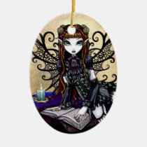 patience, victorian, gothic, goth, fairy, faery, fae, faerie, faeries, fairies, fantasy, art, mika, big, eyed, myka, jelina, Ornament with custom graphic design