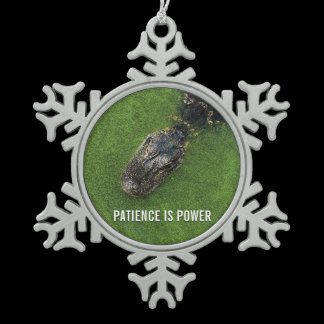 Patience is Power • Alligator • Mirror Hanger / Snowflake Pewter Christmas Ornament