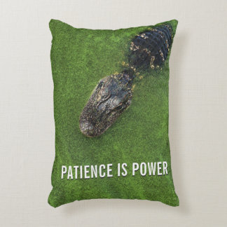 Patience is Power • Alligator Photo • Florida Decorative Pillow