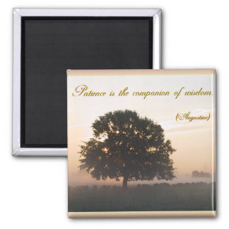 Patience is the companion of wisdom 2 inch square magnet