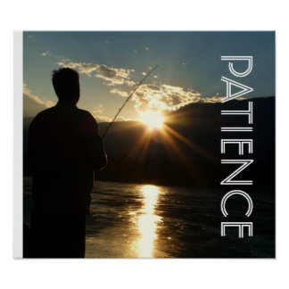 Patience Sunset  Fisherman  Silhouette Poster