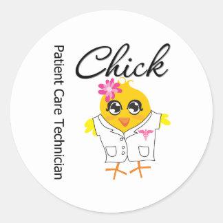 Patient Care Technician Chick v2 Classic Round Sticker