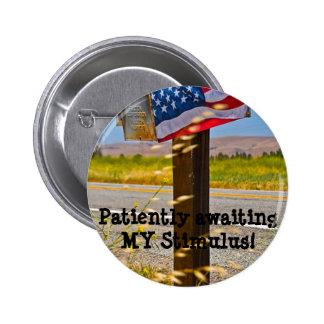 Patiently awaiting MY Stimulus! Pinback Button