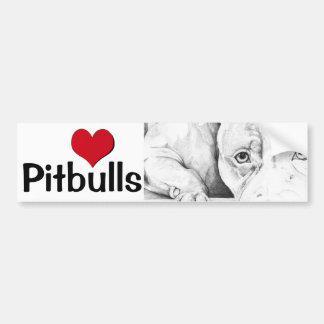 Patiently Waiting (heart pitbulls) Car Bumper Sticker