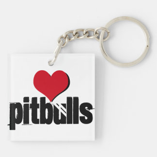 Patiently Waiting (heart pitbulls) Double-Sided Square Acrylic Keychain