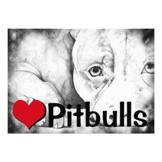 Patiently Waiting heart pitbulls Personalized Announcements