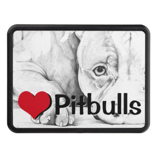 Patiently Waiting (heart pitbulls) Tow Hitch Cover